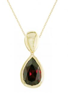 EWA 9ct Gold Garnet Pendant Necklace