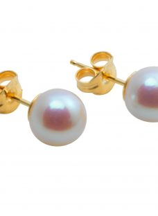 A B Davis 18ct Yellow Gold Cultured White Pearl Stud Earrings