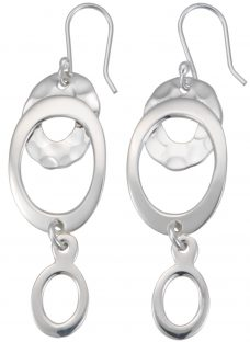 Andea Hammered Open Oval Drop Earrings