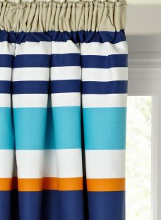 little home at John Lewis Waves & Whales Striped Pencil Pleat Blackout Lined Children's Curtains