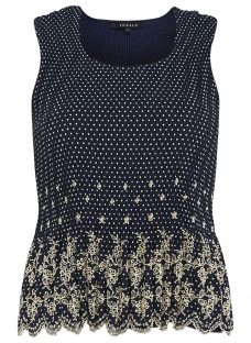 Chesca Navy Spot Print Borderie Anglaise Crush Pleat Camisole