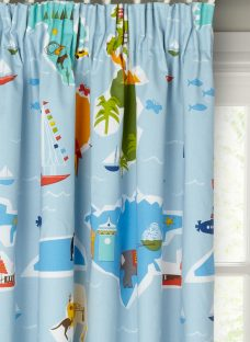little home at John Lewis Globe Trotter Pencil Pleat Blackout Lined Children's Curtains