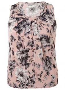 Chesca Rose Print Tuck Top