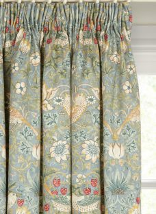 Morris & Co Strawberry Thief Lined Pencil Pleat Curtains