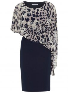 Gina Bacconi Plain Dress With Animal Floral Cape