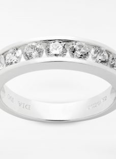 Diamond Collection 18ct White Gold Round Brilliant Channel Set Diamond Eternity Ring