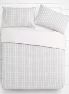 House by John Lewis Woven Check Duvet Cover and Pillowcase Set
