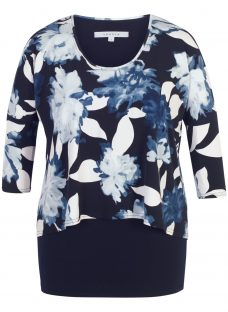 Chesca Floral Print Layered Jersey Tunic Top