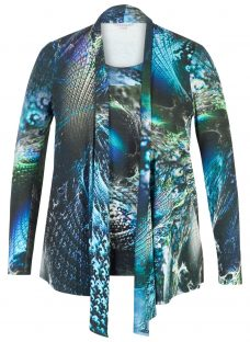 Chesca Abstract Peacock Jersey Top