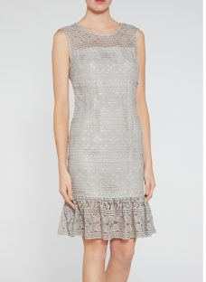 Gina Bacconi Antique Foiled Lace Panelled Embroidery Dress