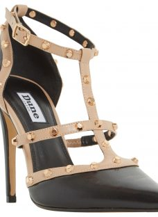Dune Daenerys Studded Cut Out Court Shoes