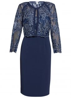 Gina Bacconi Embroidered Bodice Dress And Jacket