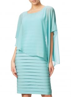 Adrianna Papell Banded Dress With Chiffon Overlay