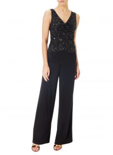 Adrianna Papell Beaded Jersey Jumpsuit