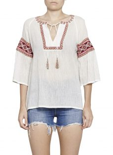 French Connection Adanna Crinkle Embroidered Smock Top