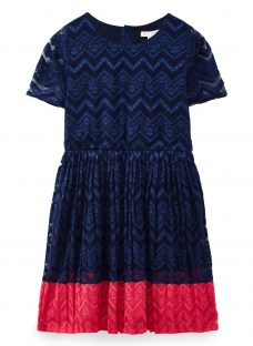 Yumi Girl Pleated Lace Panel Dress
