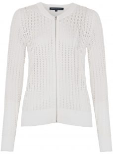 French Connection Puku Pointelle Zip Through Cardigan