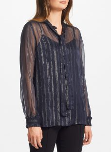 Maison Scotch Striped Long Sleeve Blouse