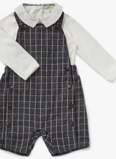 John Lewis Heirloom Collection Baby Gingham Dungaree Set