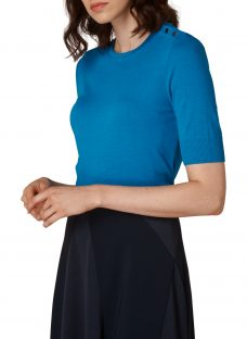 L.K. Bennett Andie Button Ribbed Top