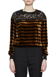 French Connection Emma Stripe Lace Trim Top