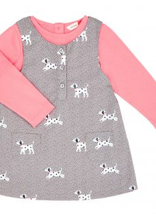 John Lewis Baby Dog Pinafore and T-Shirt Set