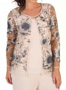 Chesca Sequin And Embroidered Mesh Jacket
