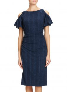 Adrianna Papell Draped Sleeve Knitted Sheath Dress