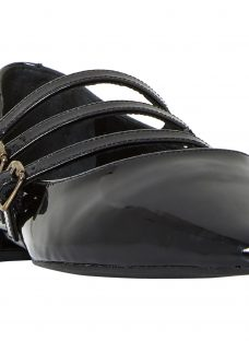 Dune Black Goldesmith Triple Strap Court Shoes