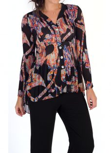 Chesca Abstract Print Crush Pleat Blouse