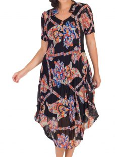 Chesca Abstract Print Crush Pleat Notch Neck Dress