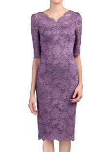 Jolie Moi Scalloped V-Neck Lace Dress