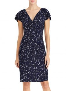 Lauren Ralph Lauren Brisa Polka Dot Stretch Jersey Dress