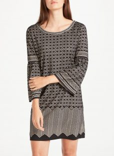 Max Studio Bell Sleeve Geo Devore Dress