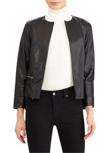 Lauren Ralph Lauren Collarless Leather Jacket
