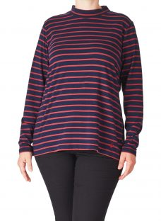 ADIA Striped Roll Neck Jersey Top
