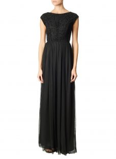 Adrianna Papell Beaded Chiffon Long Gown