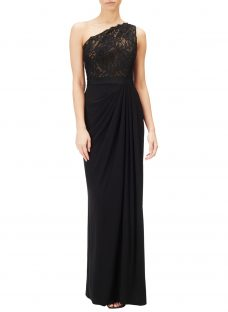 Adrianna Papell One Shoulder Lace Jersey Dress