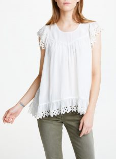 Maison Scotch Broderie Frill Sleeve Top