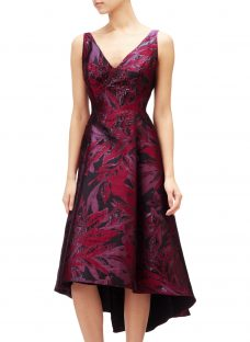 Adrianna Papell Plus Size Floral V-Neck Jacquard Midi Dress