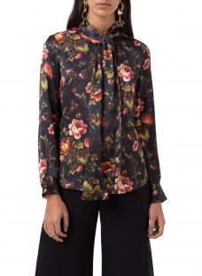 Finery Opal Lotus Flower Print Tie Neck Blouse