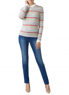 Pure Collection Striped Crew Neck Cashmere Jumper