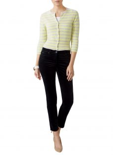 Pure Collection Cashmere Cropped Stripe Cardigan