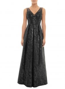 Adrianna Papell Beaded Jacquard Gown