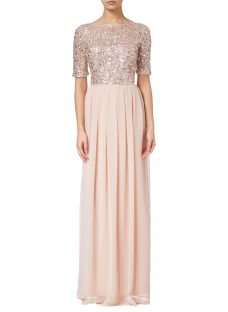 Adrianna Papell Petite Beaded Top Gown