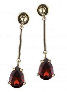 EWA 9ct Yellow Gold Garnet Drop Earrings