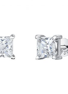 Jenny Brown Square Cut Cubic Zirconia Stud Earrings