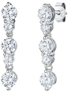 Jools by Jenny Brown 5 Rhodium and Cubic Zirconia Drop Earrings