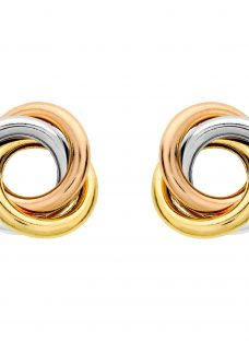 IBB 9ct Three Colour Gold Knot Stud Earrings
