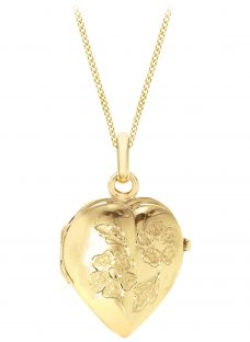 IBB 9ct Yellow Gold Heart Daisy Locket Curb Chain Necklace